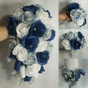Navy Blue Silver White Rose Bridal Wedding Bouquet & Boutonniere