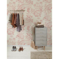 Pink forest animals Removable wallpaper pink and beige Home Decor