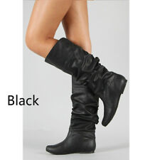 Women's Fashion Winter Solid Color Knee High Boots Casual PU Leather Long Boots