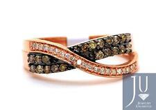 Ladies 10K Rose Gold Round Cut Pave Diamond Brown Cognac Fashion Band Ring