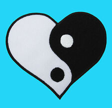 YIN - YING YANG White & Black Heart Tao Tai Chi Embroidered Iron On Patch Karate