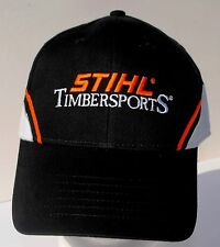 Stihl Timbersports black / gray / orange hat with stitched lettering