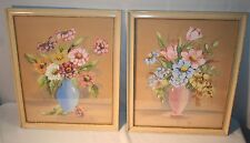 2 Vintage Watercolors by Nye Blue/Pink Vase Flowers House of Baldwin Chicago