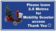 MOBILITY SCOOTER ACCESS CAR WINDOW STICKER (Access 2.5 metres At Rear ) x 1
