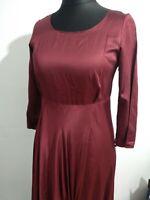 "JIGSAW ""Beyond"" Satin Asymmetric Long Burgundy Swagged Dress Size 12 Elegant"