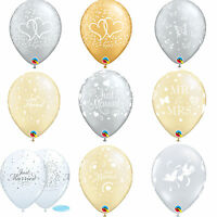 6 x Qualatex Wedding Latex Balloons  - Just Married Helium Party Balloons