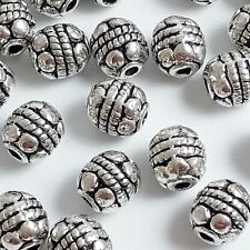 20pcs Oval Carved Tribal Pattern Beads Antique Silver Crafts 6x5mm - B00527
