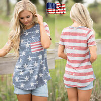 Women's Girl Plus Size American Flag Print Short Sleeve Tops Blouse T-Shirt Tee