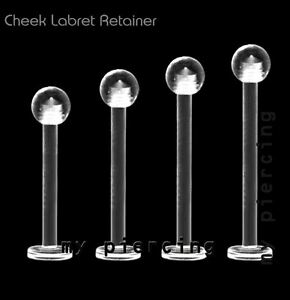 """16G 14G 1/2""""- 5/8"""" Clear Acrylic Labret Cheek Piercing Tongue Barbell Retainer"""