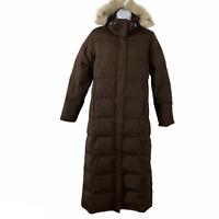 L.L. Bean Ultrawarm Coat Long Puffer Faux Fur Hood Brown Down Women's XS