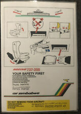 Air Zimbabwe 737-200 safety card