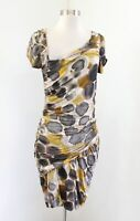 Weston Wear Anthropologie Ruched Draped Abstract Spotted Print Dress Size S
