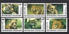 Animaux félins Togo (129) série complète de 6 timbres oblitérés