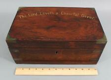 Antique 19thC Brass Bound Rosewood, Alms Box Chest, NR