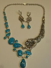 SOLID SILVER TURQUOISE,MARCASITE & RUBY SET PANTHER NECKLACE & MATCHING EARRINGS