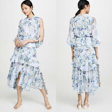 $370 MISA LOS ANGELES Aditya Dress Blue Floral Ruffle Midi Maxi Sz S NWT