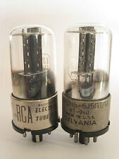 2 matched +/-1940 Sylvania/RCA 6J5GT/G tubes - Black Oval Plate, Dimpled-D-Foil