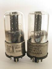 2 matched +/-1940 Sylvania/RCA 6J5GT/G tubes - Black Oval Plate, Dimpled-D-Foil