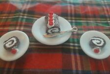 CHOCOLATE CAKE SWISS ROLL & SLICES DOLLHOUSE MINIATURE ARTISAN OOAK NEW 1:12TH