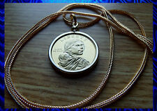"PROOF 2009 GOLDEN SACAGAWEA DOLLAR Pendant on a 24"" Gold Filled FoxTail Chain."