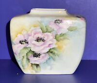 Vintage Mid Century Modern Hand Painted Floral Vase