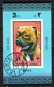 Ajman Emirate Fauna Pets Dog Boxer Souvenir Sheet 1972