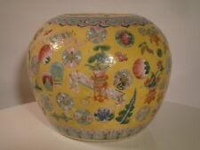 Chinese Famille Jaune Jar 19th c. Porcelain Vases Gifts Coins Auspicious Symbols