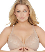GLAMORISE CAFE ELEGANCE FRONT-CLOSE WONDERWIRE® BRA, SIZE US 44B NWOT