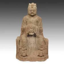 CHINESE SEATED FIGURE QUAN YIN GUANYIN SANDSTONE BODHISATTVA BUDDHISM MERCY
