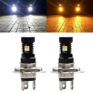 2Pcs H4 16SMD 3030 LED 520LM Car Auto LED Fog Light Bulb White Amber Dual Color