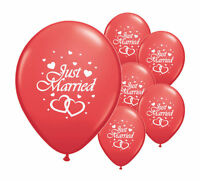 """10 JUST MARRIED RED 12"""" HELIUM QUALITY PEARLISED WEDDING BALLOONS (PA)"""