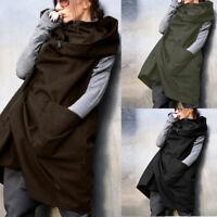 UK STOCK Women Zip Up Hoodies Hooded Sweatshirt Coat Jacket Waistcoat Gilet Plus