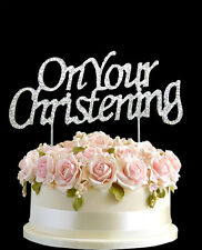 Silver Diamante Cake On Your ChristeningTopper Birthdays Diamonte Numbers Decor