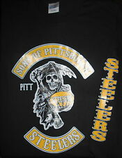 Pittsburgh Steelers Long Sleeve T-Shirt NFL Skull KOOL Black & Gold Gift Size 2X