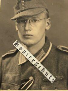 Foto Portraifoto Unteroffizier Wehrmacht EK 2 Nahkampfspange Bronze Feldmütze