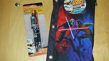 NIP Disney Star wars 2 Pack Black Gel Pens & Rebels Pencil Pouch Stocking Stuff!