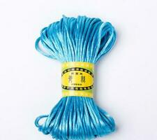 Chinese Knot Satin Nylon Braided Cord Macrame Beading Rattail Wire Blue