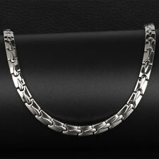 Silver Pure Titanium Magnetic Therapy Germanium Link Necklace for Neck Arthritis