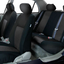 Full Interior Seat Covers Auto Set for Car SUV Van Solid Black Universal Fitment