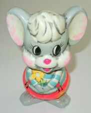 Vintage Mouse Bank 1966 Japan Hedaya w/ Plug Stopper 7 Inch MCM Anthropomorphic
