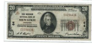 1929 $20 First Wisconsin National Bank of Milwaukee, WI Charter 64 Type 1