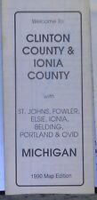 1990 Street Map of Clinton County & Ionia County Michigan w/Local Advertising