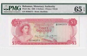 1968 Bahamas $3 PMG65 EPQ <P-28a> GEM UNC