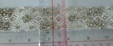 Rhinestone Trimming Fringe Sew on with glass beads rhinestone, wedding white 1yd