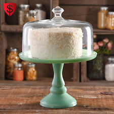 """10"""" Cake Stand with Glass Cover Pioneer Woman Timeless Beauty Jadeite RARE"""