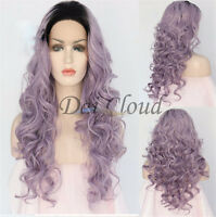 Nature Women Ombre Black Purple Long Wavy Curly Lace Front Wig Cosplay Hair Wigs