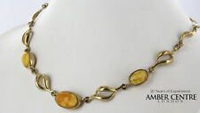 Dulce manteca Lechoso ámbar del Báltico & 9ct Italiano Collar De Oro GN0004Y