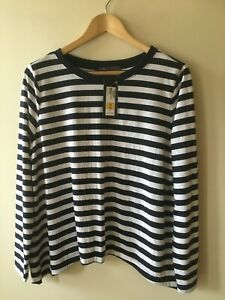 BNWT Top M&S Collection Sz 16 Navy Blue White Stripe Long Sleeve Warm ? Gift