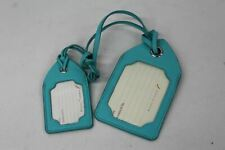 ASPINAL OF LONDON Smooth Turquoise Leather CS Embossed Luggage Tag Set NEW