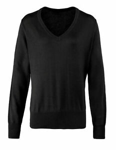 Premier Womens V-Neck Knitted Sweater (PR696) - Ladies Casual Formal Office Wear